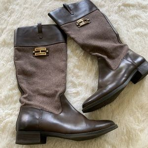 Tommy Hilfiger brown heeled riding boots, 9 1/2M